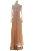 Rent: Joanna - Peach Long Sleeves Beaded Dress