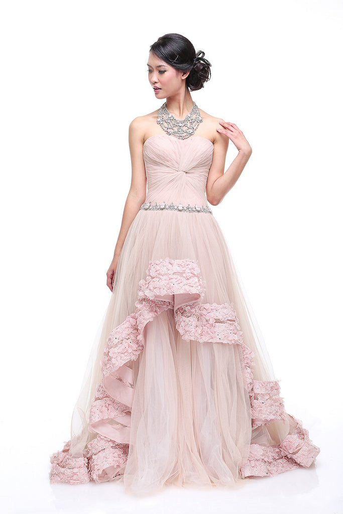 Johar Mandrawan - Rent: Johar Mandrawan Blush Twist Front Tulle Ball Gown-The Dresscodes - 1