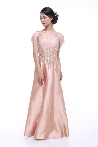 Johar Mandrawan - Rent: Blush Off Shoulder Dupioni & Chiffon Gown-The Dresscodes - 1