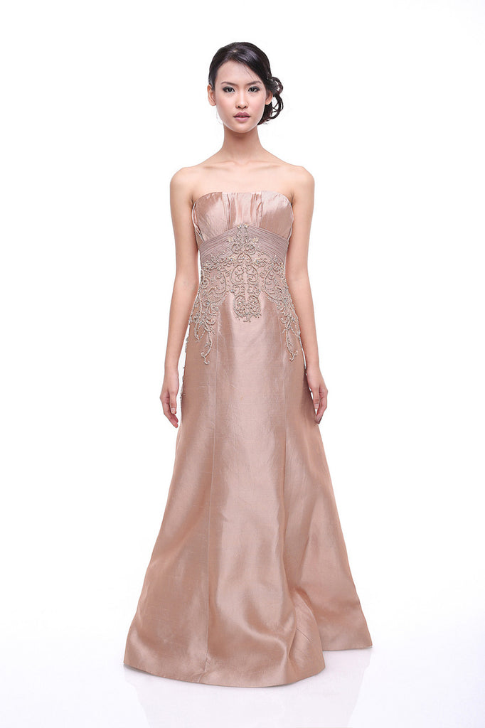 Johar Mandrawan - Rent: Johar Mandrawan Blush Beaded Strapless Dupioni Gown-The Dresscodes - 1