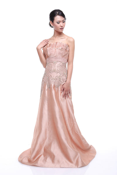 Johar Mandrawan - Rent: Johar Mandrawan Blush Strapless Pleated Dupioni Gown-The Dresscodes - 1