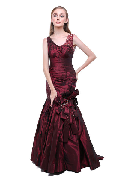Julia Sposa - Buy: Maroon Mermaid Bow Gown-The Dresscodes - 1