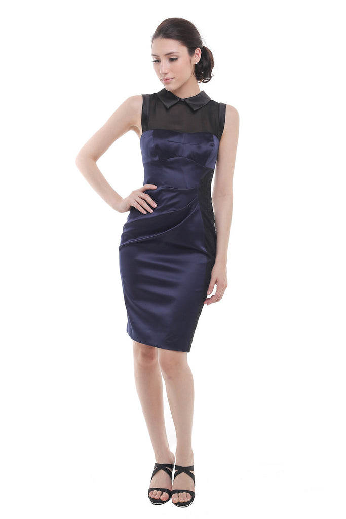 Karen Millen - Buy: Navy Blue Sleeveless Satin With Side Cocktail Dress-The Dresscodes - 1