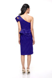 Karen Millen - Buy: Blue One Shoulder Satin Cocktail Dress-The Dresscodes - 3