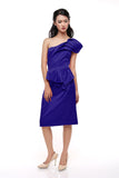 Karen Millen - Buy: Blue One Shoulder Satin Cocktail Dress-The Dresscodes - 1