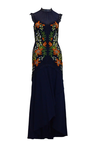 Rent: Karen Millen Navy Blue Lace Flower Dress