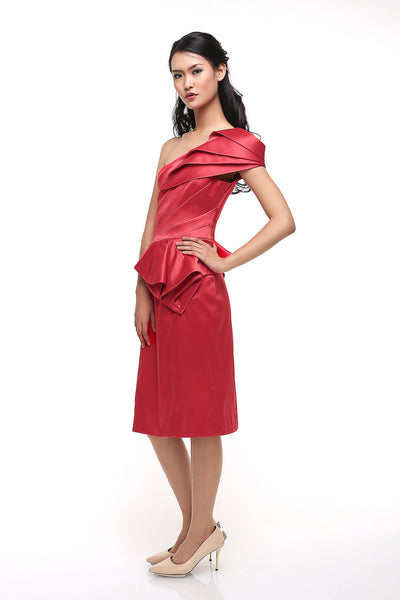 Karen Millen - Buy: Red One Shoulder Satin Cocktail Dress-The Dresscodes - 1