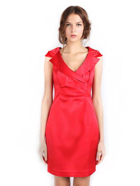 Kay Unger - Buy: Collared Red Cocktail Dress-The Dresscodes - 1