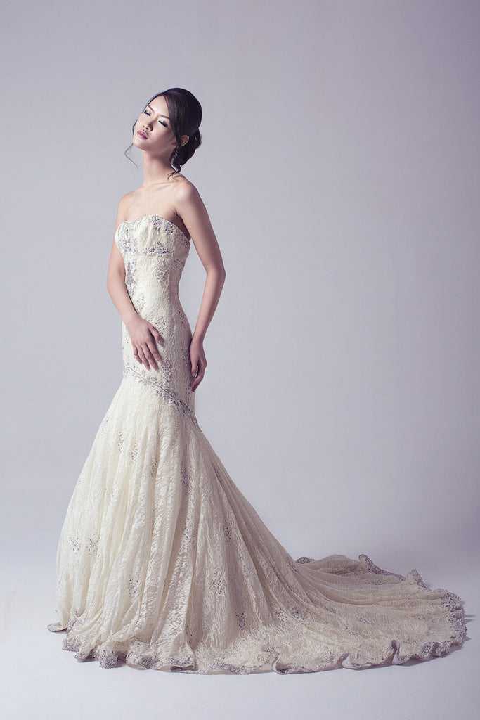 Kenneth Pool - Rent: Mermaid Ivory Wedding Gown-The Dresscodes - 1
