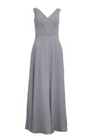 Rent: Grey Chiffon V Neck Gown
