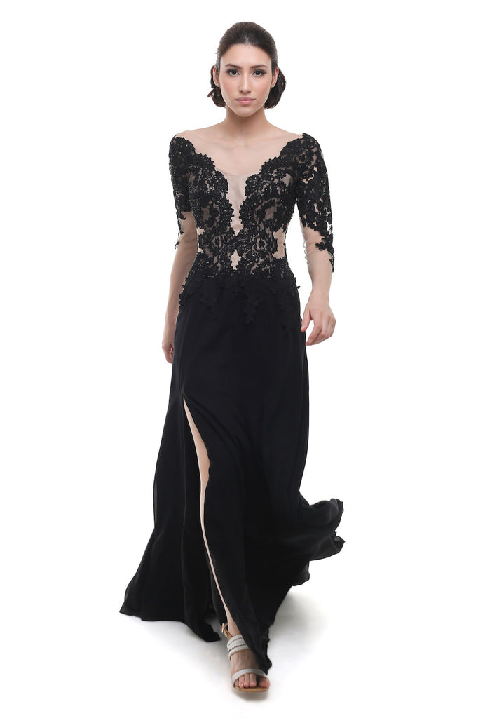 Liena Hartono - Buy: Black Lace and Tulle Off Shoulder Gown-The Dresscodes - 1