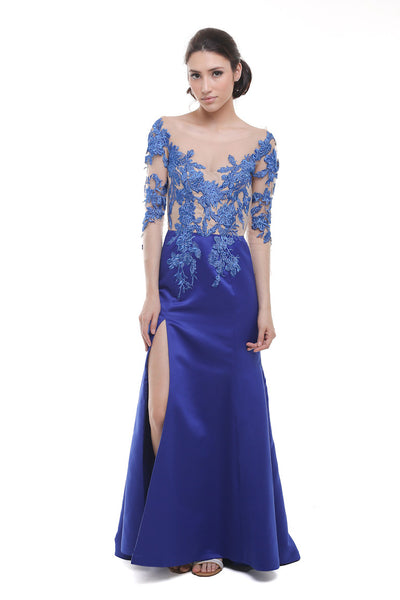 Liena Hartono - Buy: Blue Lace and Tulle Off Shoulder Gown-The Dresscodes - 1