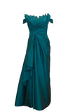 Rent: Lani Yahya Green Off Shoulder Pleated Satin Gown