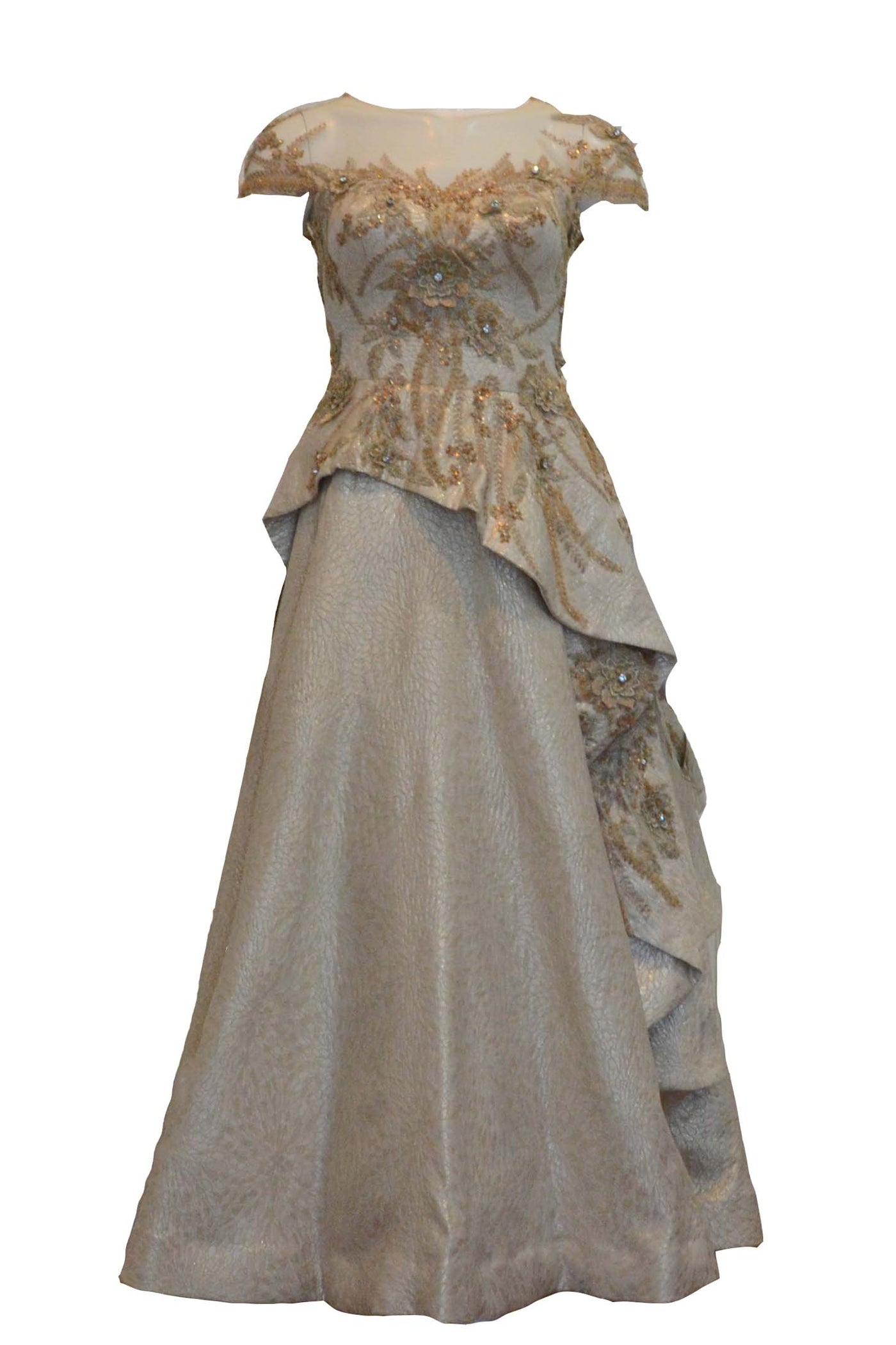Rent: Lani Yahya Gold Jacquard Short Sleeves Gown