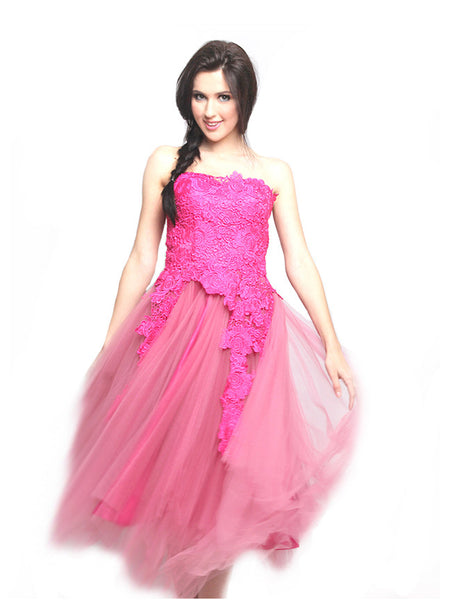 Le Couture - Rent: Le Couture Pink Lace Tulle Dress-The Dresscodes - 1