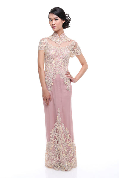 Lucy Harli - Buy: Pink Beaded Lace Kebaya Gown-The Dresscodes - 1