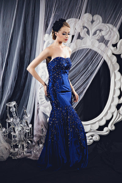 Lucy Harli - Rent: Lucy Harli Blue Sweetheart Mermaid Gown-The Dresscodes - 1