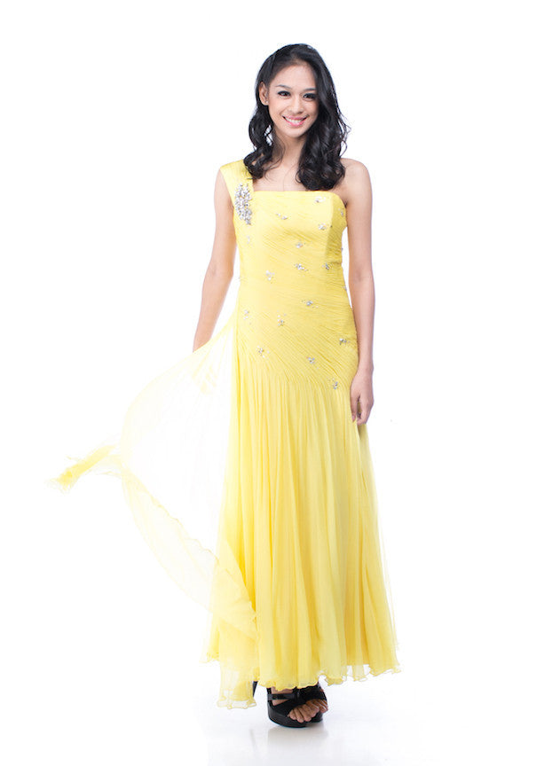 Lucy Harli - Buy: Yellow Beaded Gown-The Dresscodes - 1