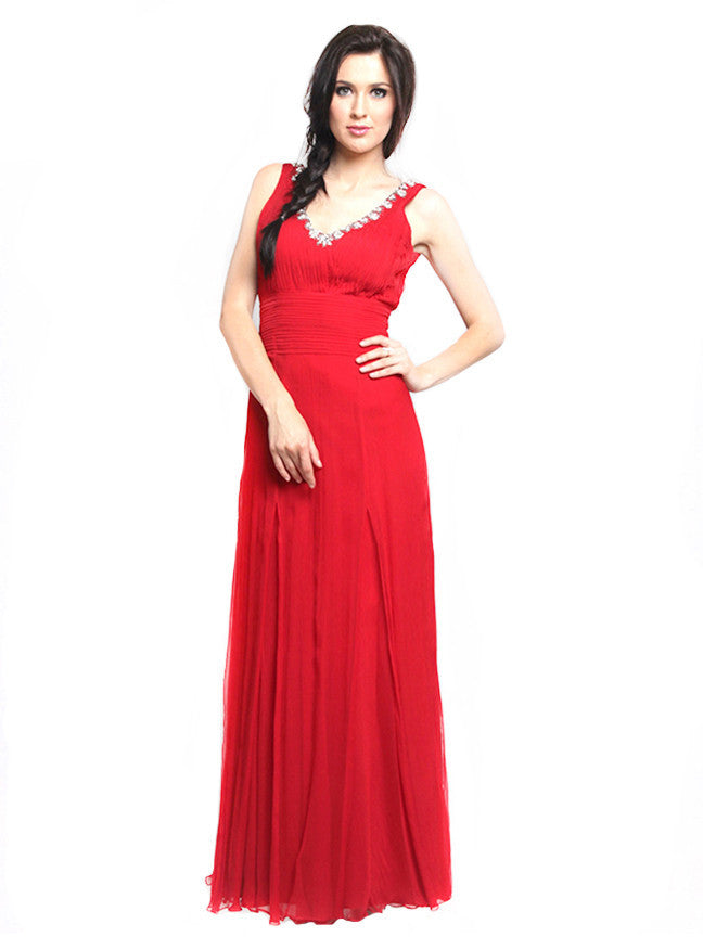 Lucy Harli - Buy: Red V-neck Gown-The Dresscodes - 1