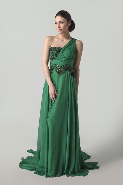 Margee Fabriani - Buy: One Shoulder Emerald Green & Black Chiffon Dress-The Dresscodes - 1