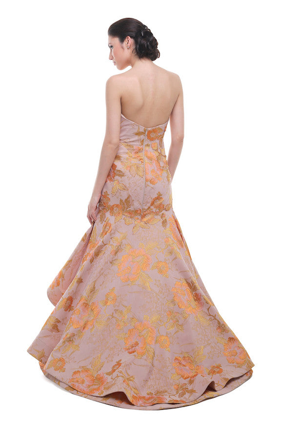 Melta Tan - Buy: Sweetheart Jacquard Coral Mermaid Gown-The Dresscodes - 1