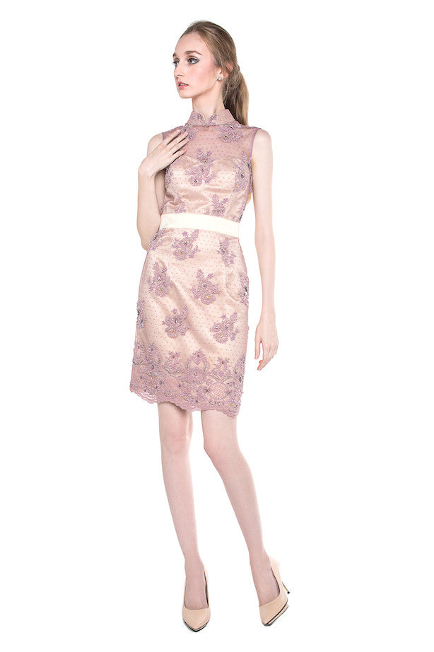 M by Mischa - Buy: Pink Beaded CheongSam-The Dresscodes - 1