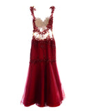 Harry Lam - Buy: Red Tulle Mid-Riff Gown-The Dresscodes - 2