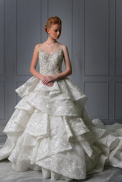 Rent: Melta Tan Beautiful Ruffles Wedding Gown