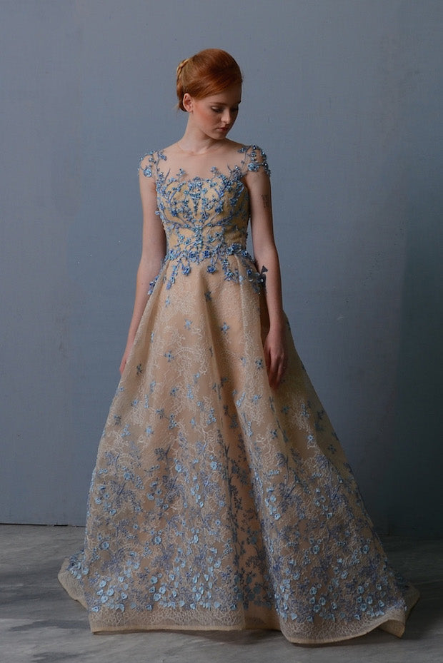 Rent: Windy Chandra A Line Floral Baby Blue Gown