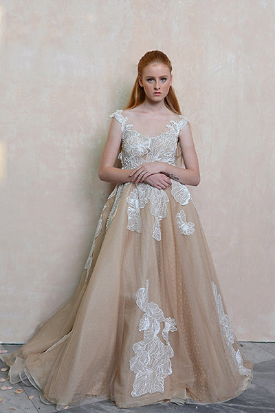 Rent: Agvsta by Bethania Flower Blush A Line Gown