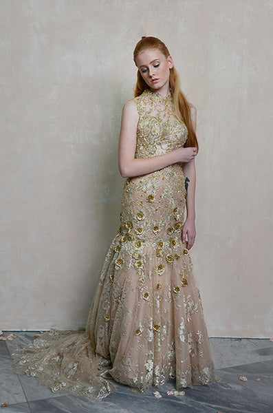 Buy: Melisa Sigit Golden Rose CheongSam Mermaid Gown