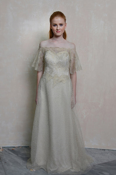 Rent: Riana Cream Gold Cold Shoulders Lace Gown