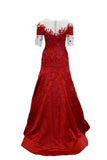 Buy: Imelda Hudiyono Red Sabrina Gown with Sleeves