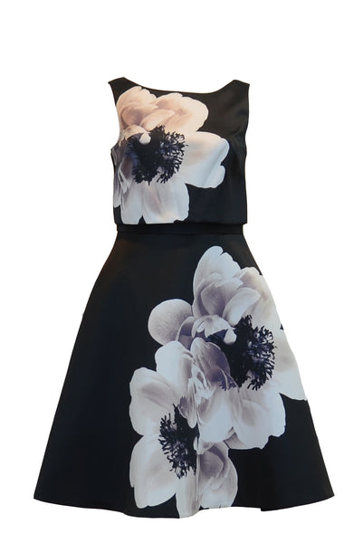 Rent: Coast London - Black Floral Midi Dress