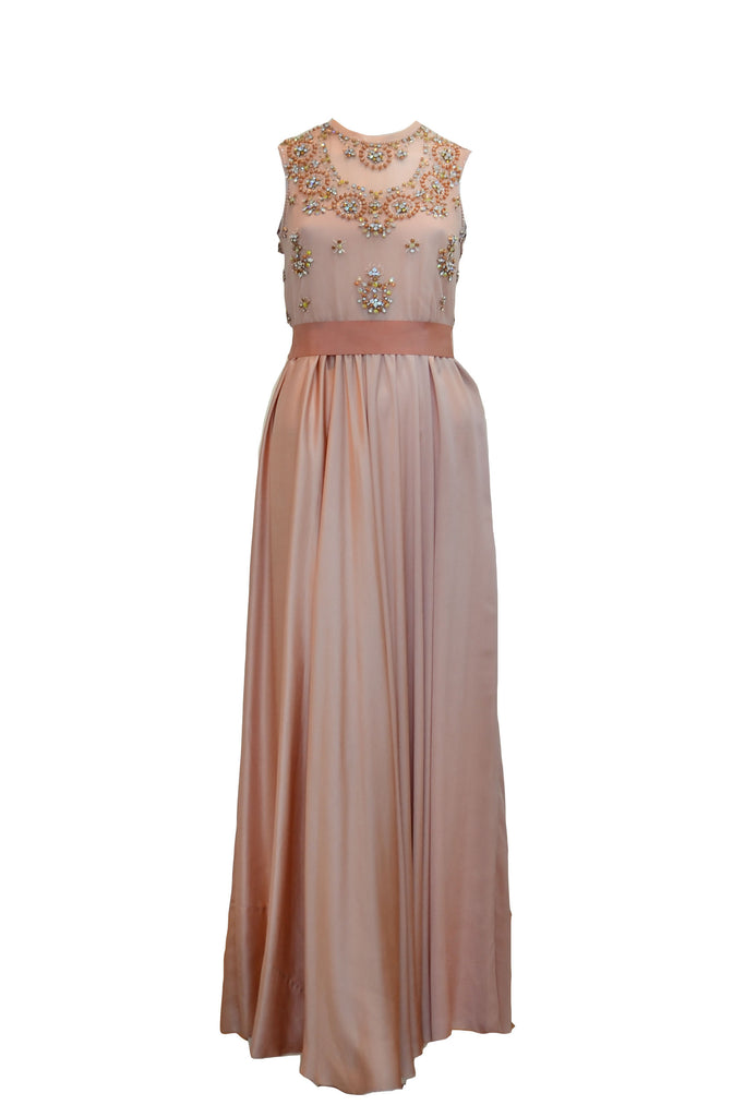 Rent: Biyan Peach Beaded Silk Dress