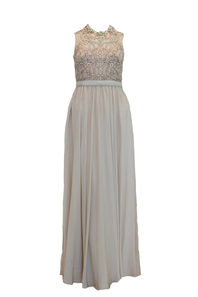 Rent: Biyan Grey Embellished Beaded Neckline Silk Dress