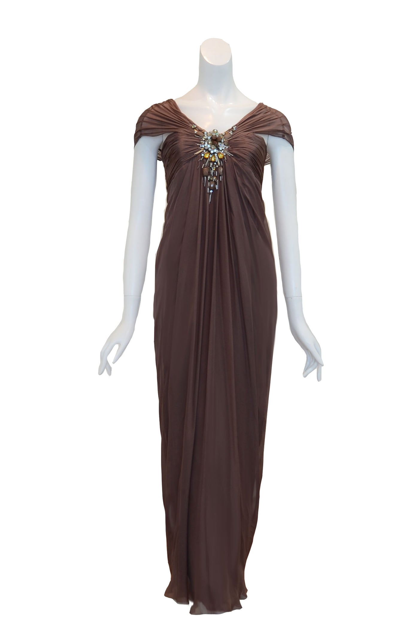 Rent: Biyan Pleated Beaded Chiffon Dress