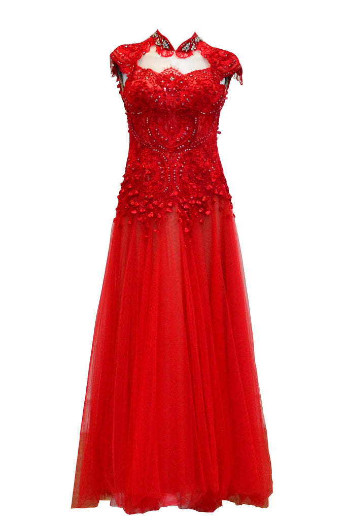 Rent: Wiki Wu -  Red Cheongsam Tulle Gown