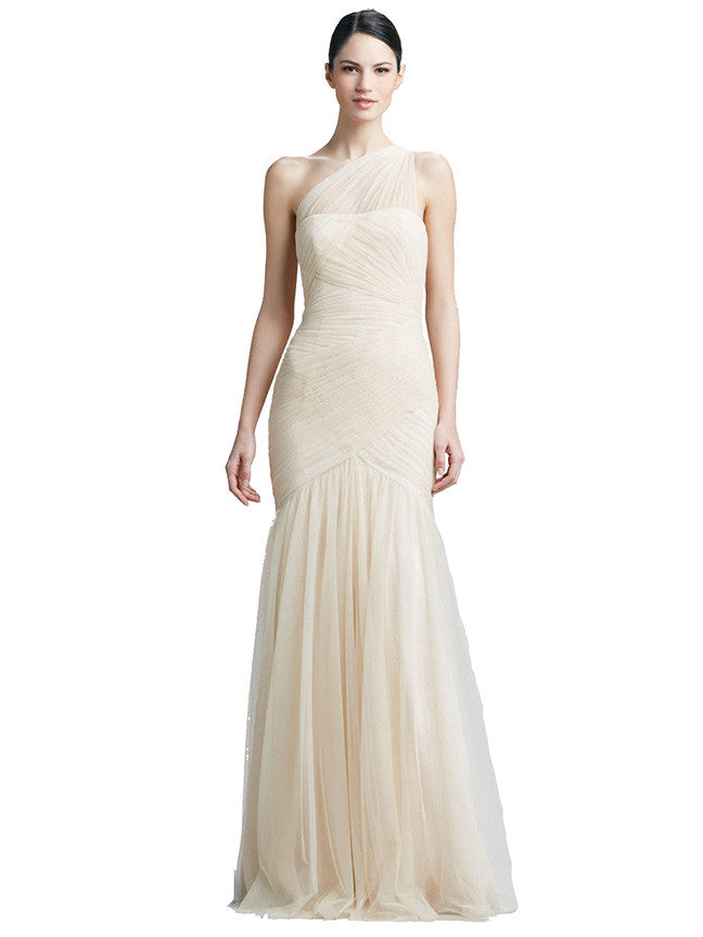 Monique Lhuillier One Shoulder Cream White Tulle Gown – Dresscodes