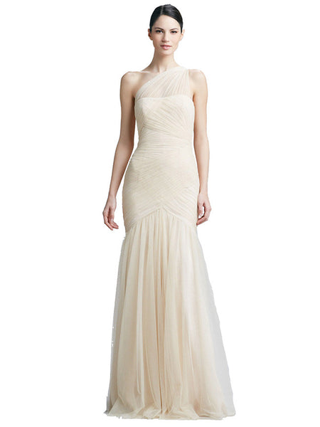 Monique Lhuillier - Rent: Monique Lhuillier Cream White Tulle Gown-The Dresscodes - 1