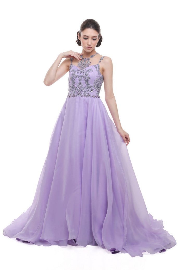 Monica Ivena - Buy: Lavender Beaded Gown-The Dresscodes - 1