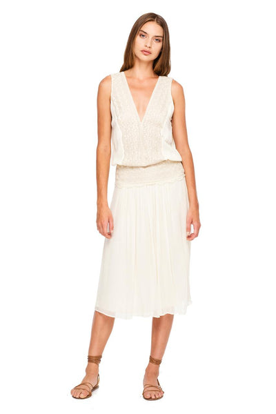 Rent: Magali Pascal Luela Off White Sleeveless Midi Dress