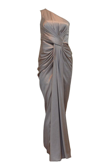 Sale: Mathana Brown One Shoulder Pleated Satin Dress
