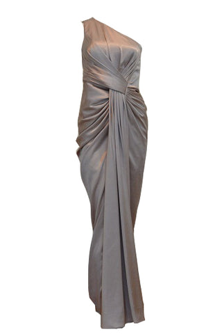 Rent : Mathana Brown One Shoulder Pleated Satin Dress