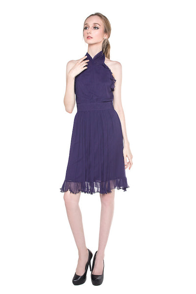 Max & Cleo - Buy: Halter Chiffon Cocktail Dress-The Dresscodes - 1