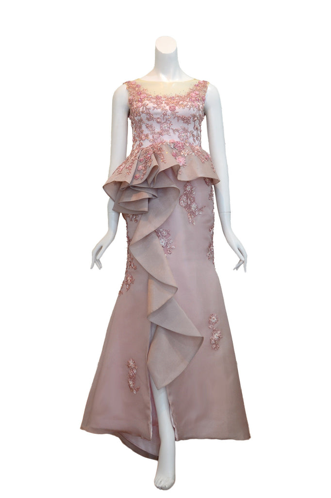 Rent: Melisa Sigit Pink Floral Embellishment Pleated Mermaid Gown