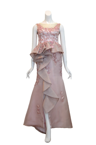 Buy: Melisa Sigit Floral Mermaid Gown with Ruffles