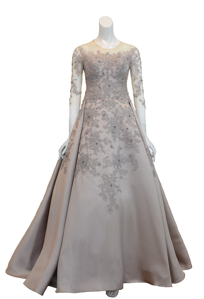 Rent: Melisa Sigit Lilac 3/4 Sleeves Tulle Gown