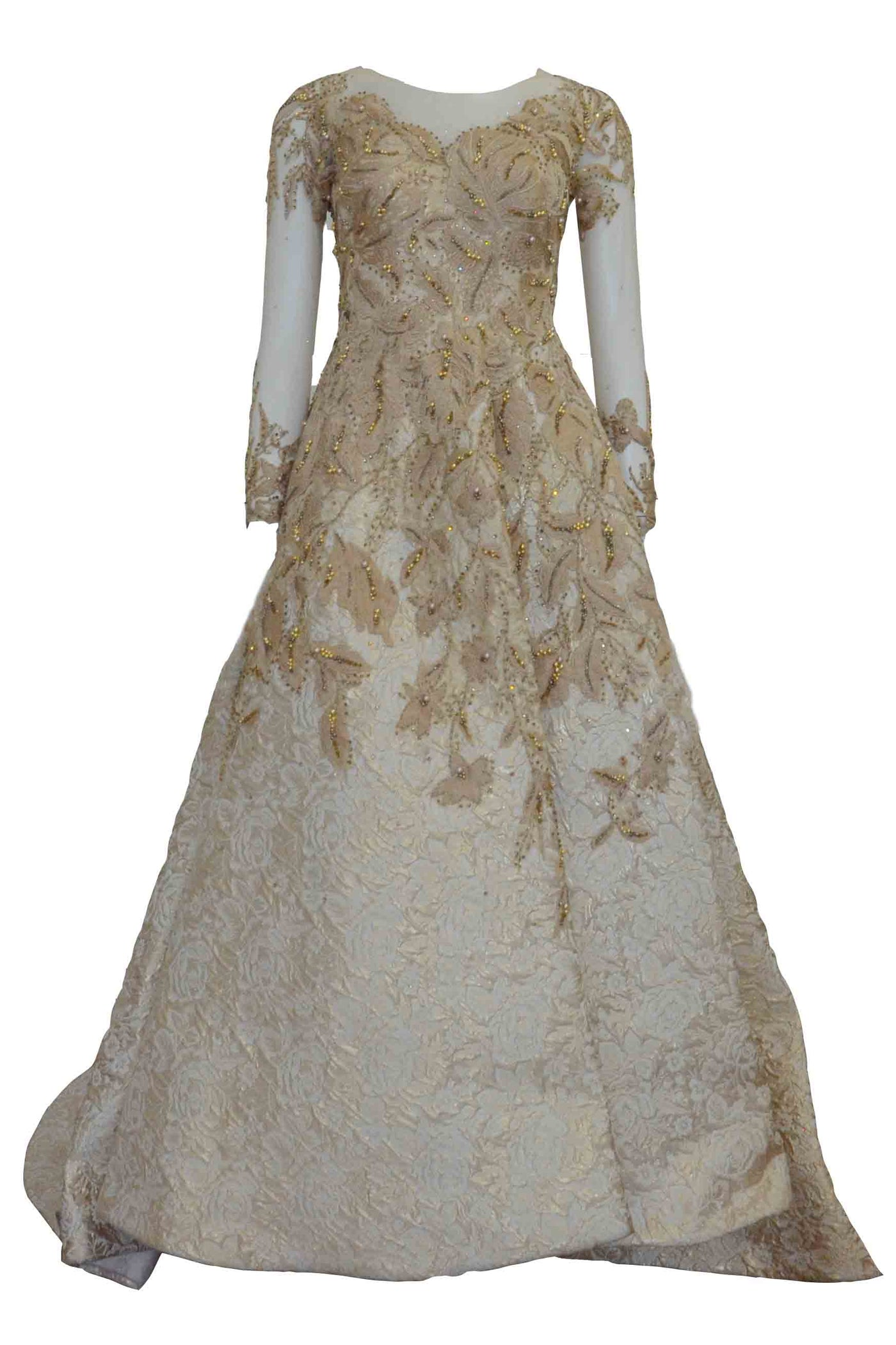 Rent: Melisa Sigit - Gold Long Sleeves Jacquard  A Line Gown
