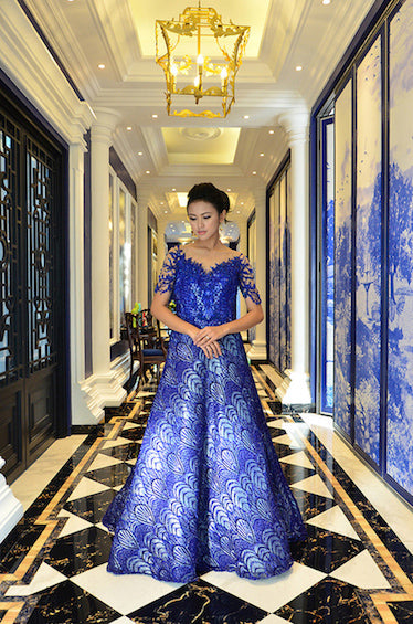 Rent: Melta Tan Royal Blue Beaded Sleeves Gown